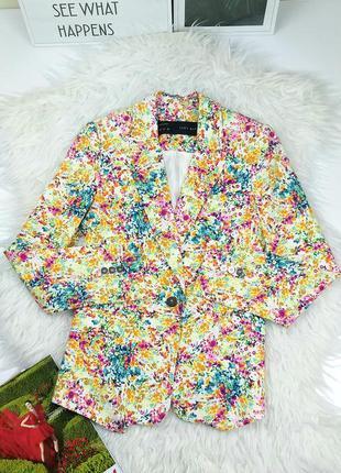 Zara basic m/38 хлопковый  пиджак жакет яркий в цветочный принт