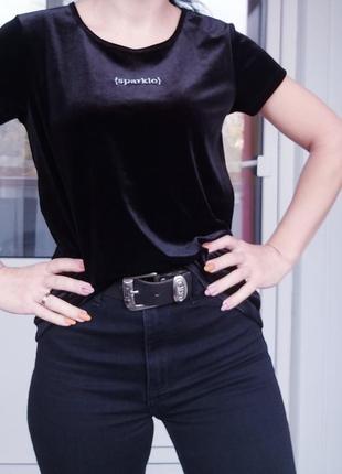 Tu бархатная черная футболка sparkle- блестать