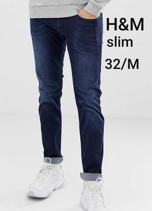H&m m/32 slim мужские синие зауженные джинсы
