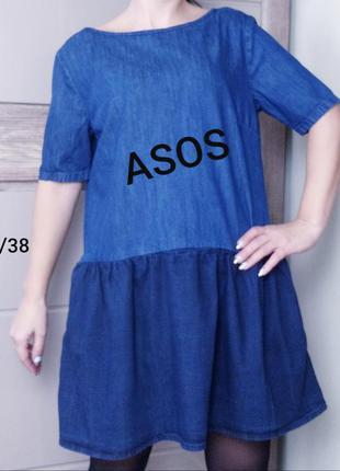 Asos denim 10/38/m джинсовое  свободное платье из денима двух ...