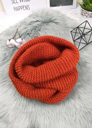 Тёплый объёмный шарф снуд хомут яркий оранжевый