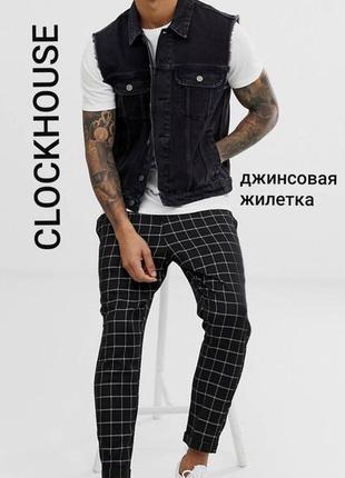 Clockhouse c&a l/40 черная мужская джинсовая жилетка