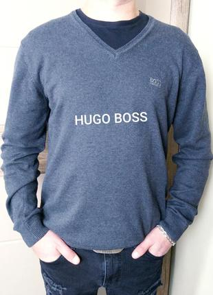 Hugo boss xl серый хлопковый джемпер, кофта, пуловер , свитер ...