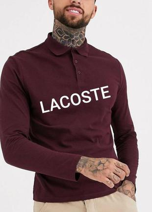 Lacoste polo slim fit  l/40 бордовая рубашка поло с длинными р...