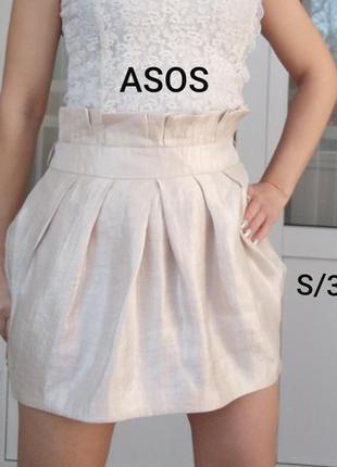 Asos s/36 кремовая мини юбка на высокой посадке с сатиновым от...
