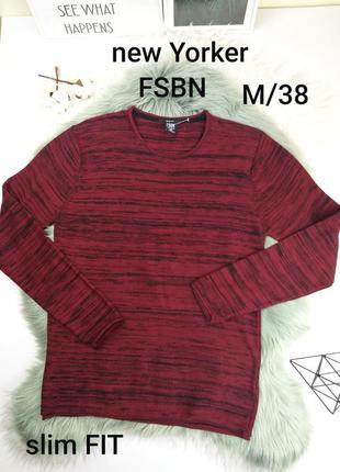 New yorker fsbn m/38  бордовый мужской джемпер/кофта