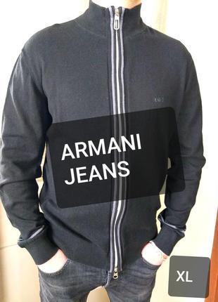 Armani jeans xl мужской джемпер/кофта/свитер на молнии