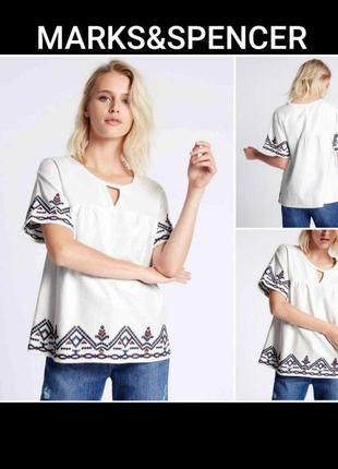 Marks&spencer l/14 блузка с вышивкой из плотного хлопка