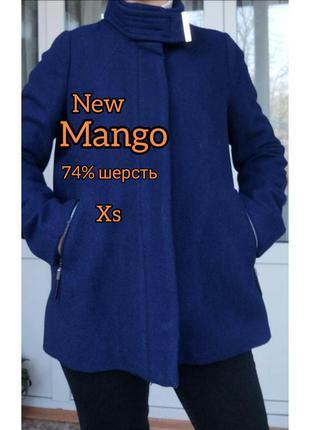 Скидка❗mango xs/34 шерстяное темно синие пальто свободного кроя