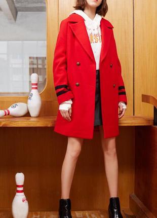 Шерстяное пальто only красное онли