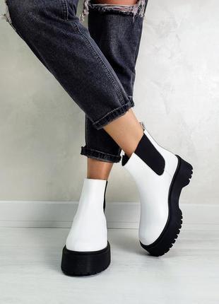 Трендовые демисезонные ботинки челси натуральная кожа