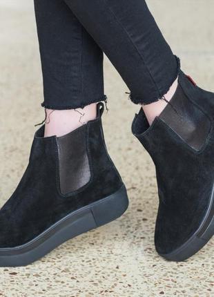 🔥 распродажа!!! ботинки челси зимние замшевые черные натуральн...