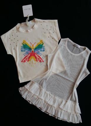 Комплект: футболка и туника-сеточка gaialuna (италия) на 4 год...