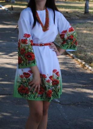 Платье ручной роботы с маками / платье вышитое бисером м-л