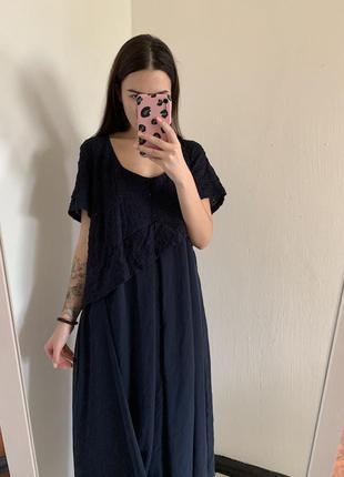 Темно синее миди платье