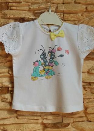 Нарядная футболка gaialuna (италия) на 6-9 месяцев
