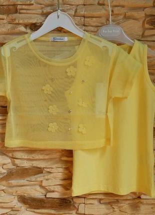 Комплект: футболка-сеточка и майка gaialuna (италия) на 6-7 ле...