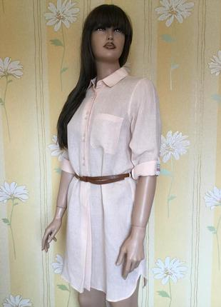 Платье рубашка туника лён zara размер xs