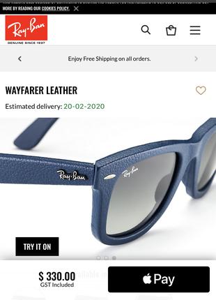 Очки кожа Ray Ban Wayfarer Leather RB2140QM