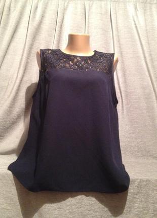 Базовая блузочка с кружевными вставками.1144
