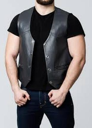 Шикарна стильна статусна жилетка (безрукавка) для мужчини шкір...