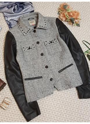 Пиджак-куртка only/кожаные рукава/шерсть