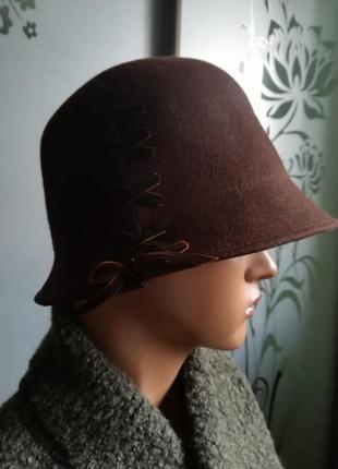 Шерстяная женская шляпа фетровая