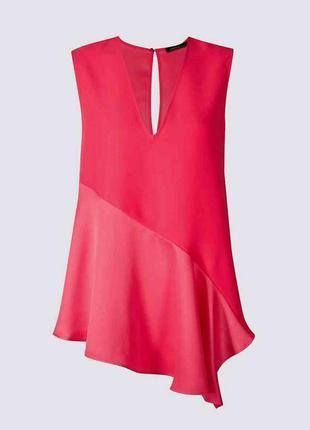 Сочная блуза блузка с ассиметричным шелковистым низом