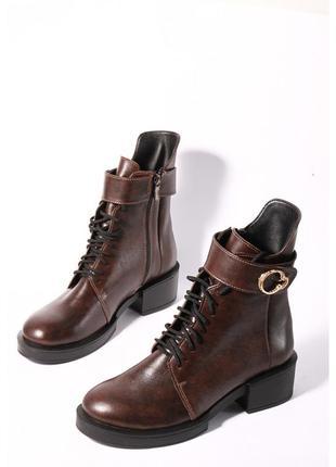 Стильные ботинки кожаные женские коричневые широкий устойчивый...