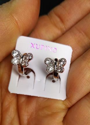 """Серьги """"ажурные бабочки"""" родированные, xuping, ювелирная бижут..."""