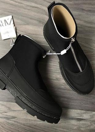 Демисезонные ботинки zara эко кожа