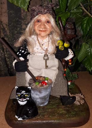 Баба Яга кукла сувенирная. Варит зелье))