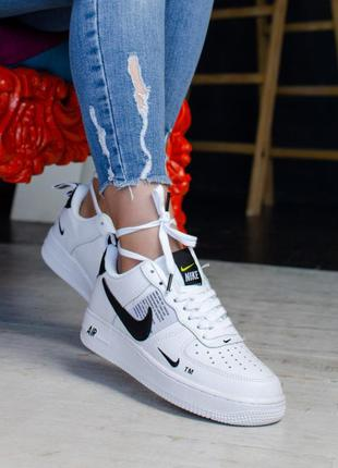 Nike air force utility black and white  шикарные женские кросс...