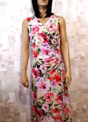 Красивое  длинное  платье  в цветы на запах от kate &mallory