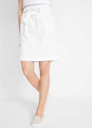 Белая юбка из льна льняная юбка короткая