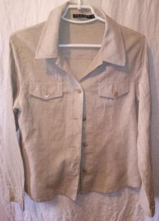 Рубашка -куртка из льна бежевого цвета