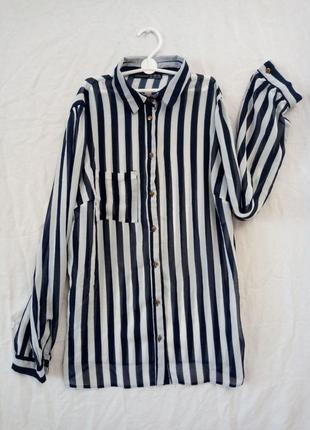 Блузка рубашка полупрозрачная в бело синию полоску классика кэ...