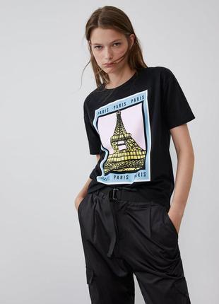 Модная футболка свободный фасон с-м zara свежая коллекция