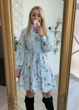 Платье с воротником стоечкой