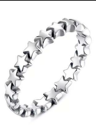 Кольцо серебро 925 звезды в стиле пандора