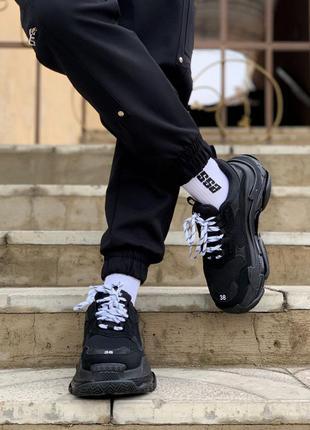 Женские стильные высокие кроссовки triple s black white