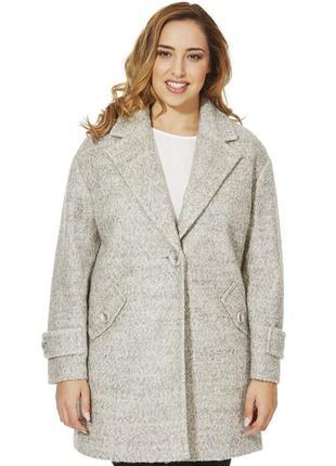 Крутое букле пальто бойфренд большой размер 50% шерсть от f&f