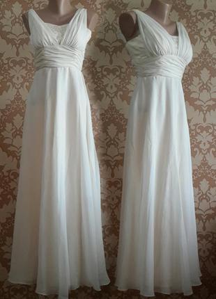 Шикарное вечернее, выпускное, бальное, концертное белое платье...