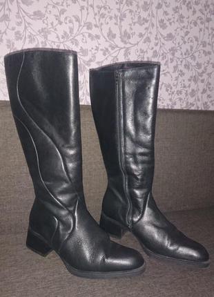 Зимние кожаные сапоги на натуральной цигейке