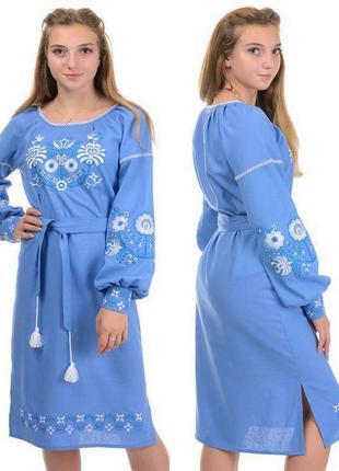 Женское свободного кроя платье-вышиванка,туника,рубаха