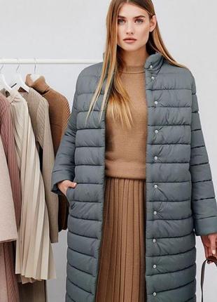 Куртка серая с поясом зимняя длинная с капюшоном пуховик cardo