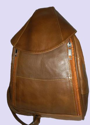 Стильная вместительная сумка-рюкзак из натуральной кожи