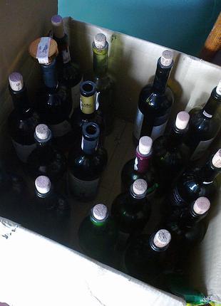 Бутылка винная 27 шт, темное стекло, с пробкой
