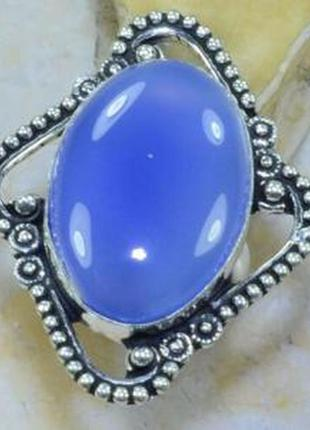 Уникальное кольцо с натуральным халцедоном в серебре 17 р индия
