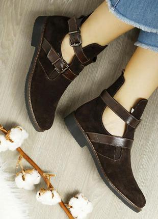 Замшевые женские коричневые демисезонные открытые ботинки низк...
